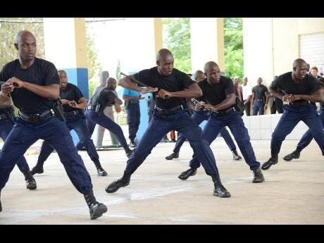 In this 2016 photo, policemen demonstrate the use of less lethal force after being trained in defensive tactics.