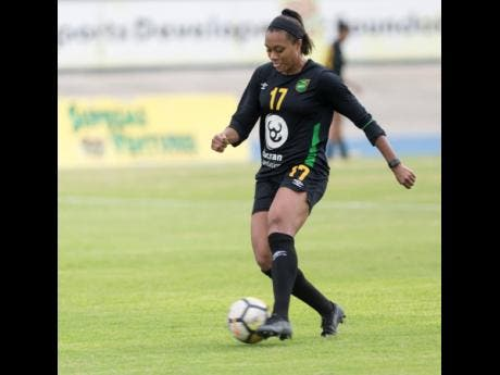 Gladstone Taylor Allyson Swaby  goes through her paces during a Reggae Girlz training session at the National Stadium on Friday, January 18, 2019.