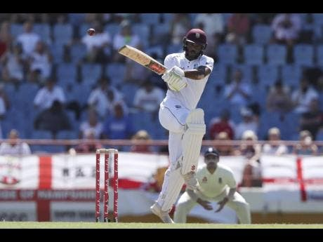 West Indies opener John Campbell of Jamaica plays a shot during day two of the third cricket Test match at the Daren Sammy Cricket Ground in Gros Islet, St Lucia, on Sunday.