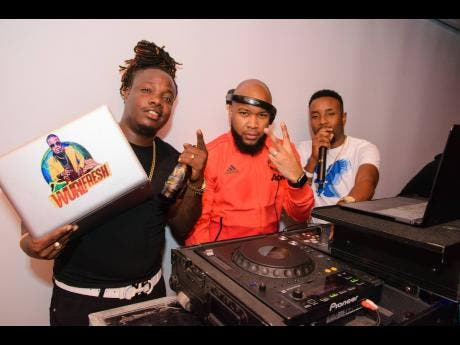 Wurl Fresh (left) playing alongside Marc Chin (centre) and DJ Cutty from Coppershot sound system.