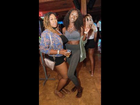 Party promoter, Shaneel (left) with dancer, Mystic Davis.