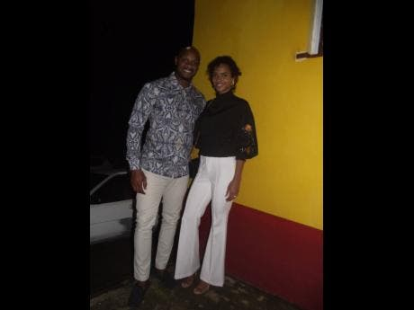 Asafa Powell and his wife, Alyshia, were out to celebrate with his mom.