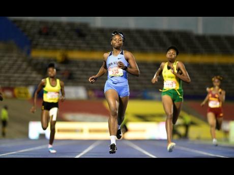 Edwin Allen High's Kevona Davis winning her Class Two 200m semi-final.