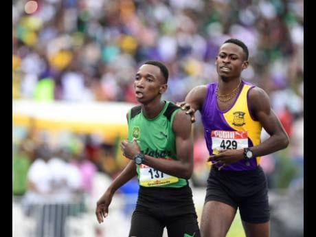 Kimar Farquharson (left) of Calabar High School wins the Class One boys 800m final ahead of Tyrice Taylor of Enid Bennett High at the 2019 ISSA/GraceKennedy Boys and Girls' Athletics Championships.