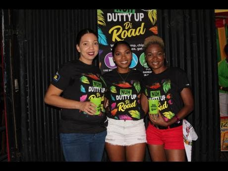From left: Ashley Codner, Lauren Creary and Shauna Williams were out at Mas Camp for Bacchanal and Dancehall to educate patrons about the Nuh Dutty Up Jamaica for Carnival campaign.