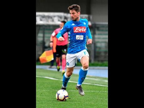 Napoli's Dries Mertens during a Serie A match against Chievo Verona, at the Bentegodi Stadium in Verona, Italy, yesterday.