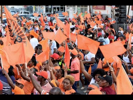 Many persons were out in their numbers for a PNP mass meeting in Port Antonio, Portland, on March 3.