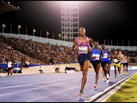 Mo Farah in the Men's 3000m race at the JN Racers Grand Prix at the National Stadium in Kingston on Saturday, June 10, 2017.
