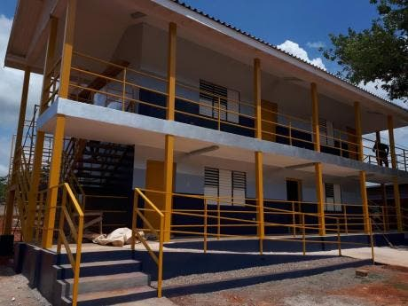 The new classroom block at New Forest High is almost complete. The building was constructed primarily from containers.