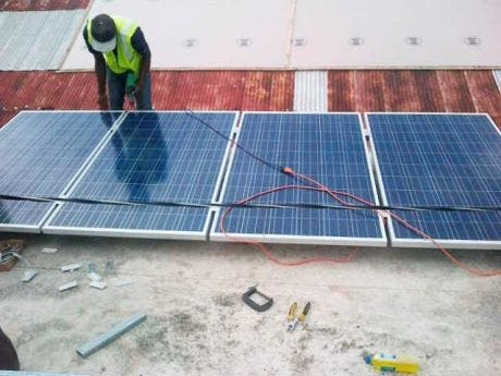 The solar panels being installed.