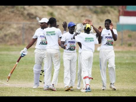 Rio United players celebrate after taking a wicket against St Margaret's Bay in the  SDC national Community T20 cricket competition in Buff Bay, Portland, on Sunday.