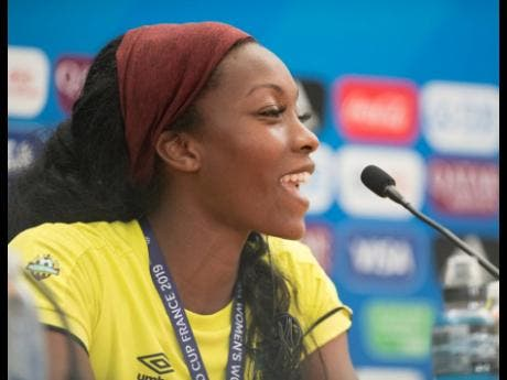 Cheyna Matthews at a press conference at the Stade des Alpes in Grenoble, France, yesterday.