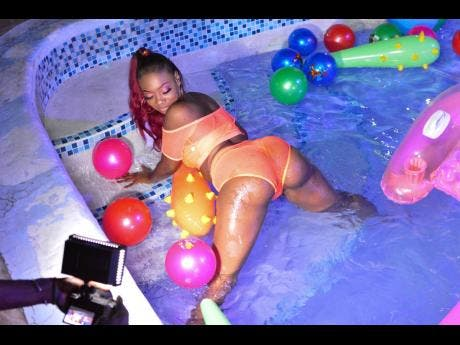Tiffany enjoying her time in the pool.