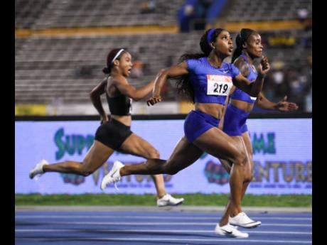 From left: Briana Williams third in 10.94 seconds behind Shelly-Ann Fraser-Pryce 10.73 seconds, and winner Elaine Thompson 10.73 (right) in the women's 100m final.