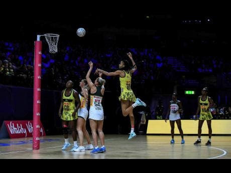 South Africa's Phumza Maweni shoots at the net  against Jamaica during the Netball World Cup match in Liverpool yesterday.