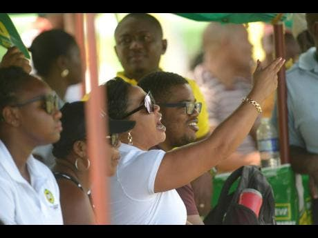 Spectators celebrate a boundary during the SDC Wray & Nephew  T20 Community Cricket competition as  May Pen Lions take on Junction Ballards Valley from St Elizabeth at the Sir P's Oval in Clarendon.
