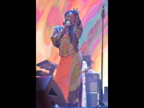 Jah9 entertains patrons at Reggae Sumfest on Saturday.
