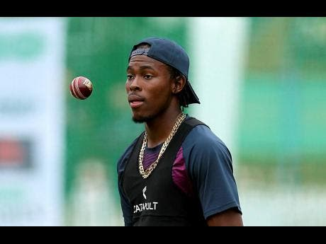 England's Jofra Archer looks on during a nets session at Lord's, in London, yesterday.
