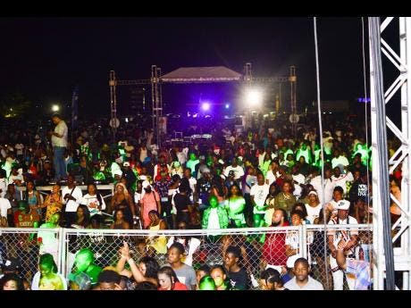 A section of the crowd at Summa Sizzle, which was held at the Woodleigh Sports Complex in Clarendon, last Saturday.