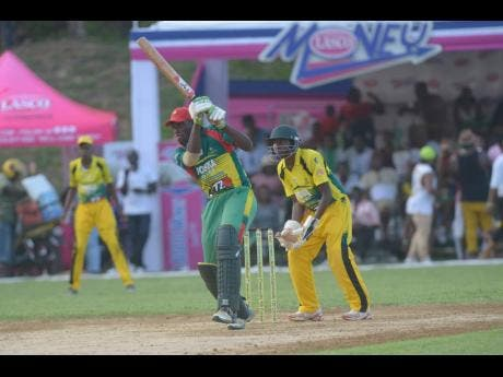Gayle's Jermaine Chisholm plays a shot against Orange Hill in the final of the SDC/Wray & Nephew T20 Cricket Competition in Discovery Bay, St Ann, yesterday.
