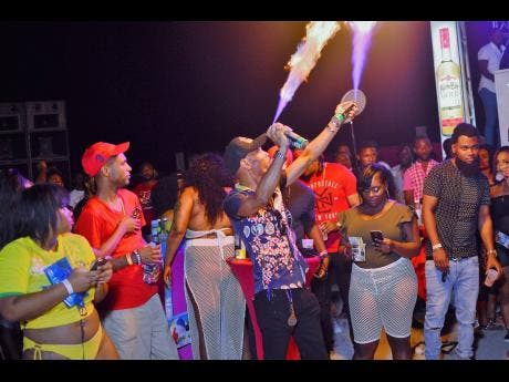 Patrons enjoying a staging of Skimpii at Ultra Beach in Portmore last year.