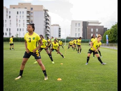 Reggae Girlz  executing drills at a training session at Stade Eugene Thenard in Grenoble, France, ahead of a match in the FIFA Women's World Cup on Monday June 17, 2019.