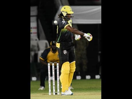 Christopher Gayle reacts after he was out caught behind for a first ball duck last night at Sabina Park. St Lucia Zouks beat the Jamaica Tallawahs by five wickets