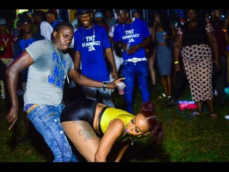 Dancer Expensive makes a move on a promo girl.