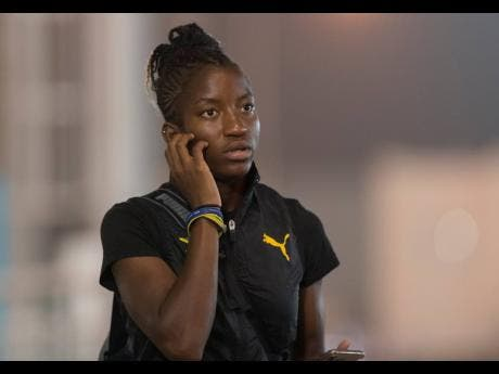 Former national 100m hurdles record holder Janeek Brown on her way to training at the Qatar Sports Club in Doha, Qatar, yesterday, ahead of her participation at the IAAF World Championships on October 5.