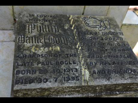 The grave of Bogle's grandson Phillip.