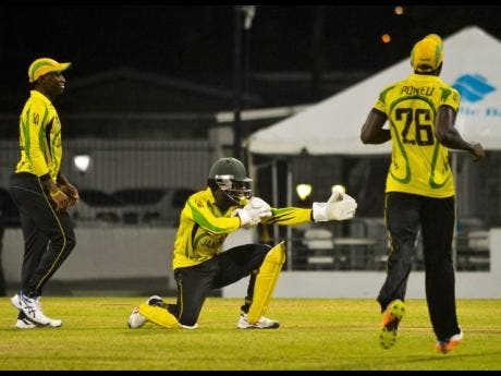 Scorpions celebrate after taking a wicket in the regional Super50 tournament in 2017.