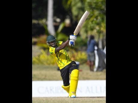 Jermaine Blackwood bats during the semi-final of the of the tournament against the Trinidad and Tobago Red Force in 2017.