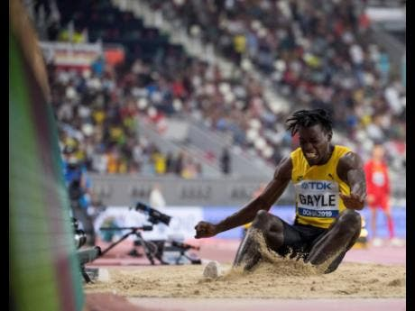 Tajay Gayle competes in the men's long jump final at the World Athletics Championships in Doha, Qatar, on Saturday September 28, 2019.