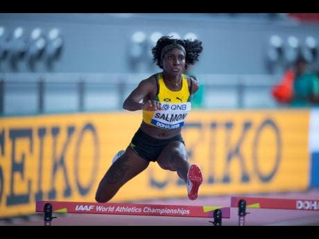 Shiann Salmon clears a hurdle during the preliminary round of the women's 400m hurdles at the 2019 World Athletics Championships on October 1.