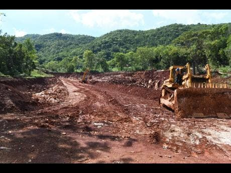 An area being cleared for the construction of a roadway for bauxite mining in Harmons, Manchester.