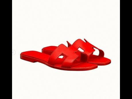 Hermes sandals  which go for $110,00  at Vanity Swim.