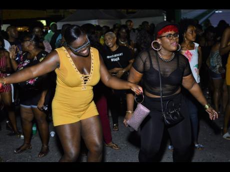 Friends dance the night away.