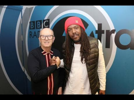 Bay-C (right)  and turntable veteran David Rodigan, following a BBC 1 Xtra interview while on his UK promo tour last year.