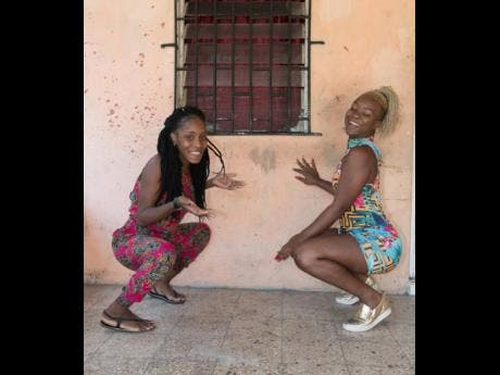 Marshalee Brown (left) and her cousin, Shanice Xpressionz, show off their dancing skills.
