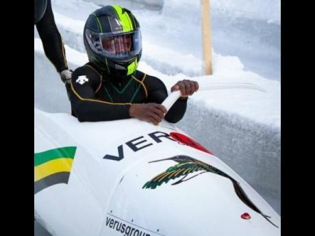 Driver Shanwayne Stephens in his bobsleigh.