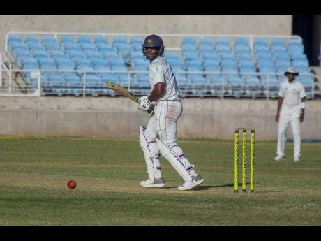 Barbados Pride batsman Kyle Mayer plays a shot down to fine leg during their Cricket West Indies Professional Cricket League Regional 4-Day game against the Jamaica Scorpions at Sabina Park in Kingston on  January 24, 2020.