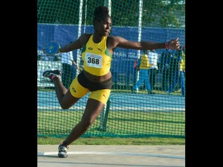 Jamaica's Cedricka Williams competing in the Under 17 girls discus at last year's Carifta Games in the Cayman Islands.