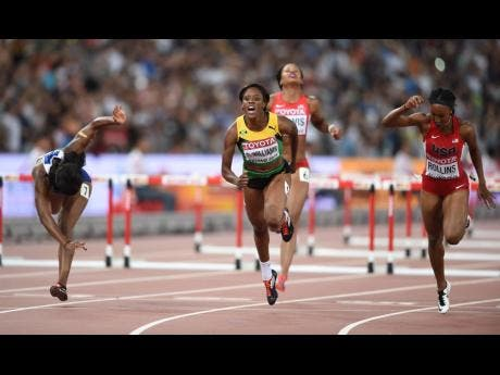 Jamaica's Danielle Williams takes gold in the women's 100m hurdles at the 2015 World Championships in Beijing, China.