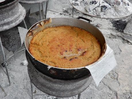One of Wallace's famous puddings ready for serving.