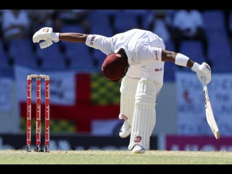 West Indies' Shai Hope plays a shot from the bowling of England's Ben Stokes during day two of the second Test cricket match at the Sir Vivian Richards Stadium in North Sound, Antigua and Barbuda, last February.