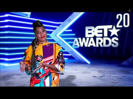 In this video grab issued BET, host Amanda Seales speaks during the BET Awards.