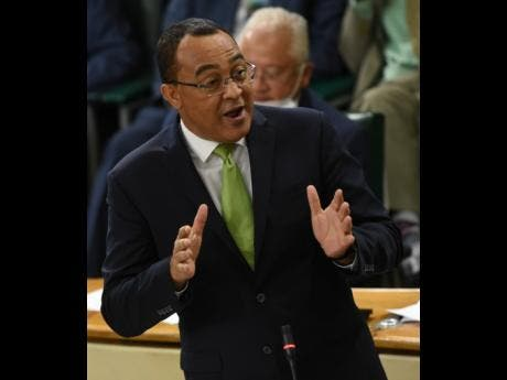 Health Minister Dr Christopher Tufton making his contribution to the Sectoral Debate in the House of Representatives on Tuesday.