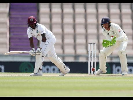 Windies batsman Jermaine Blackwood  plays a shot during the fifth day of the first Test match against England at the Ageas Bowl in Southampton, England, on Sunday.