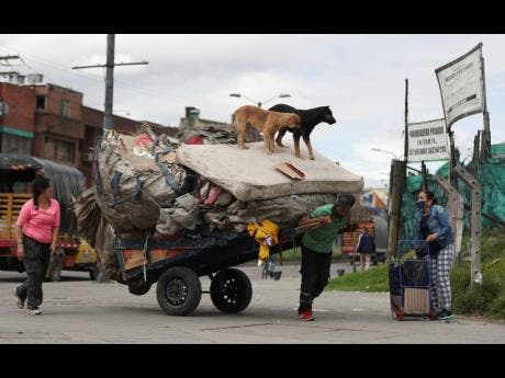 Dogs stand on a mattress hauled on a cart by a recycler in Bogota, Colombia, last Thursday, amid the new coronavirus pandemic.