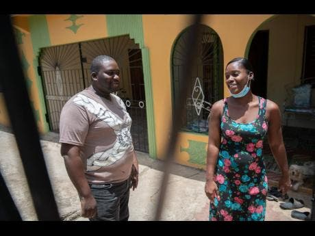Nicholas Martin and his wife Lacie at their home in Sandy Bay. They fear the lockdown will be more difficult than the one in St Catherine.